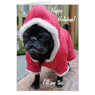 Moody Pug Christmas Greeting Card