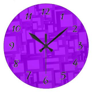 Moody Purple Abstract Art Large Clock
