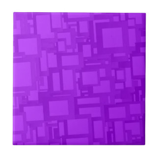 Moody Purple Abstract Art Small Square Tile