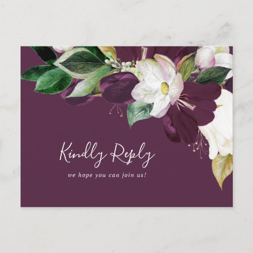 Moody Purple Bloom Plum Song Request RSVP Postcard