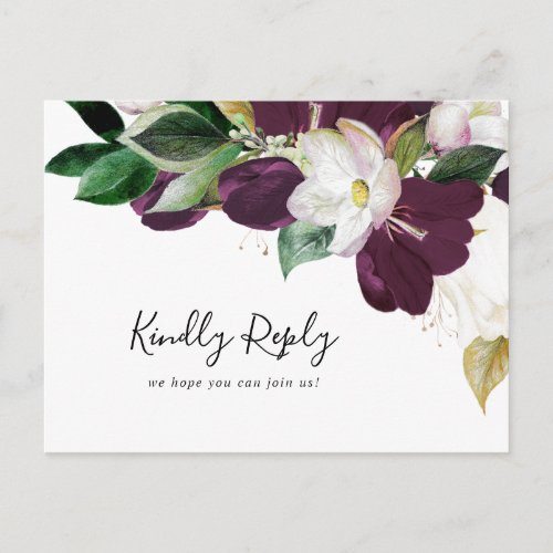 Moody Purple Blooms Song Request RSVP Postcard