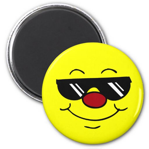 Moody Smiley Face Grumpey 2 Inch Round Magnet