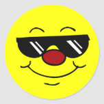 Moody Smiley Face Grumpey Classic Round Sticker