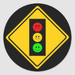 Moody Stoplight Ahead Classic Round Sticker