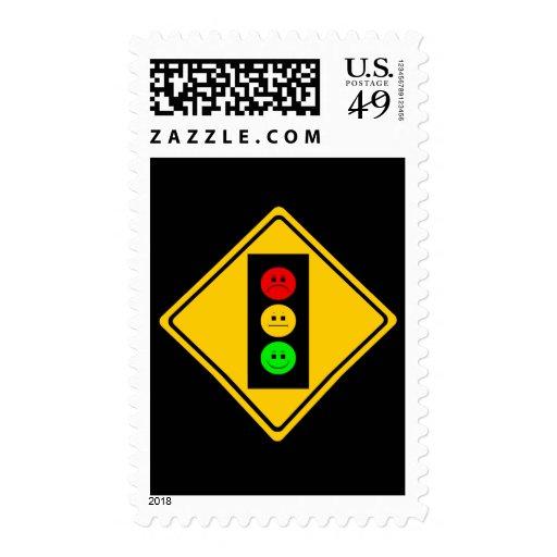 Moody Stoplight Ahead Postage Stamp