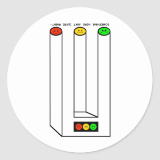 Moody Stoplight Blivet with Caption Classic Round Sticker