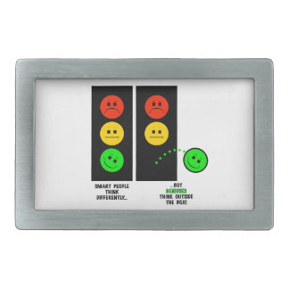 Moody Stoplight Geniuses Think Outside The Box Belt Buckle