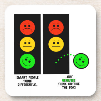 Moody Stoplight Geniuses Think Outside The Box Beverage Coaster