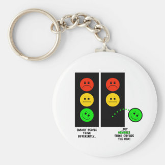 Moody Stoplight Geniuses Think Outside The Box Keychain