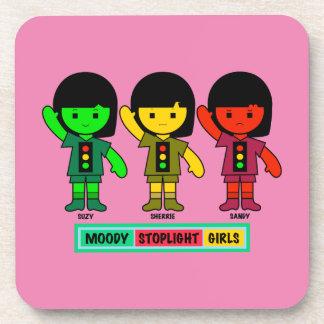Moody Stoplight Girls in Shorts Drink Coaster