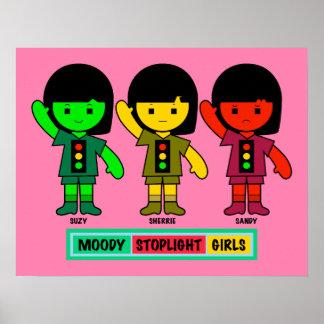 Moody Stoplight Girls in Shorts Poster