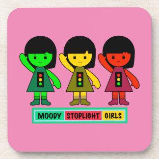 Moody Stoplight Girls w/ Label Drink Coaster