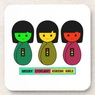 Moody Stoplight Kokeshi Girls w/ Label Beverage Coaster