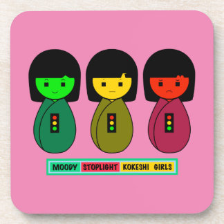 Moody Stoplight Kokeshi Girls w/ Label Drink Coaster