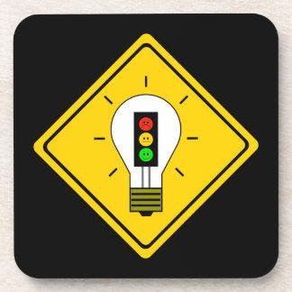 Moody Stoplight Lightbulb Ahead Beverage Coaster