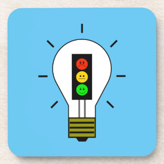 Moody Stoplight Lightbulb Drink Coaster