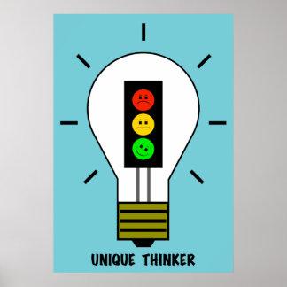 Moody Stoplight Lightbulb Unique Thinker Poster