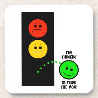 Moody Stoplight Thinking Outside The Box Beverage Coaster