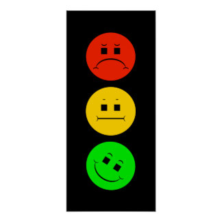 Moody Stoplight Tilted Green Poster