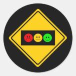 Moody Stoplight Trio Ahead Classic Round Sticker