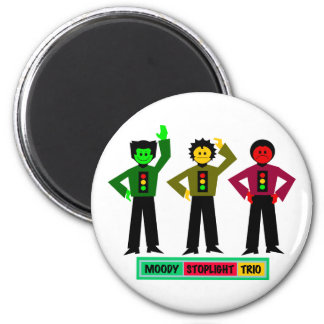 Moody Stoplight Trio Characters 2 Inch Round Magnet