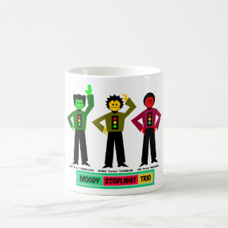 Moody Stoplight Trio Characters Classic White Coffee Mug