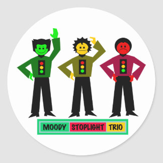 Moody Stoplight Trio Characters Round Stickers