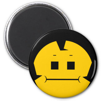 Moody Stoplight Trio Charlie Yellobellow Face 2 Inch Round Magnet
