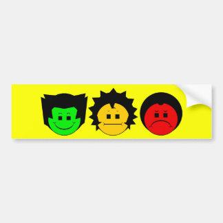 Moody Stoplight Trio Faces Bumper Sticker