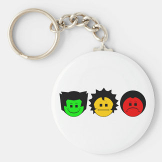 Moody Stoplight Trio Faces Key Chains