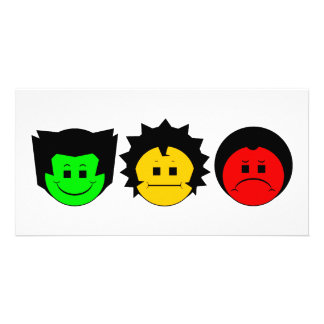 Moody Stoplight Trio Faces Photo Card