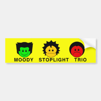 Moody Stoplight Trio Faces with Caption Bumper Sticker