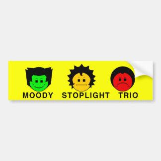Moody Stoplight Trio Faces with Caption Bumper Sticker