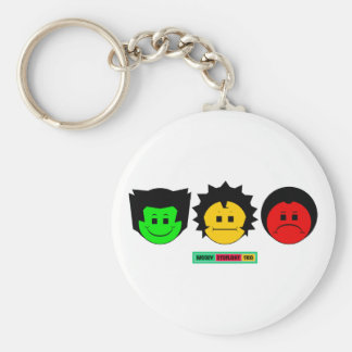 Moody Stoplight Trio Faces with Label Keychains