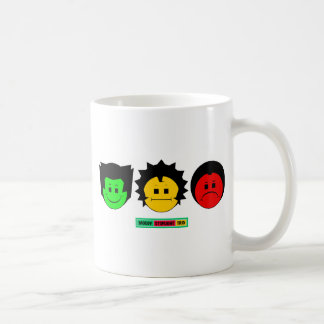 Moody Stoplight Trio Faces with Label Classic White Coffee Mug