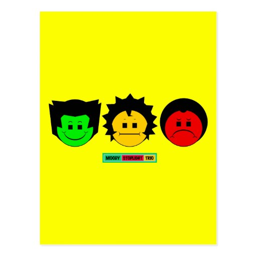 Moody Stoplight Trio Faces with Label Postcard