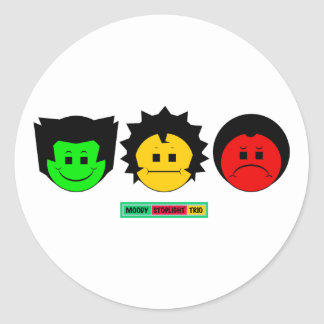 Moody Stoplight Trio Faces with Label Round Stickers