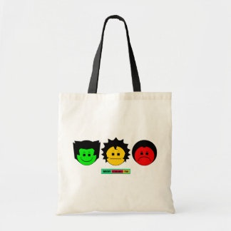 Moody Stoplight Trio Faces with Label Tote Bag