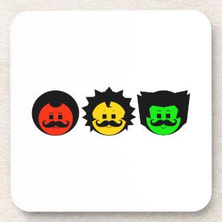 Moody Stoplight Trio Faces with Mustachios 1 Coaster