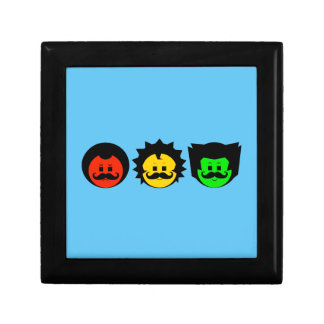 Moody Stoplight Trio Faces with Mustachios 1 Jewelry Box