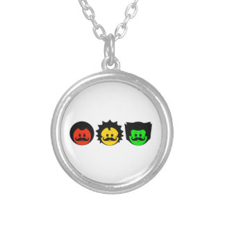 Moody Stoplight Trio Faces with Mustachios 1 Silver Plated Necklace