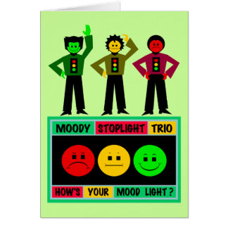 Moody Stoplight Trio Logo with Characters Greeting Card