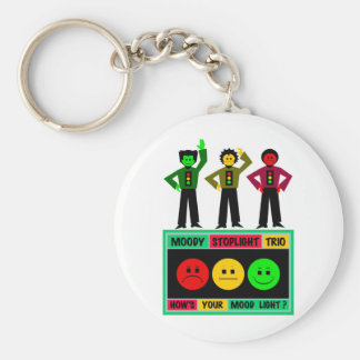 Moody Stoplight Trio Logo with Characters Keychains