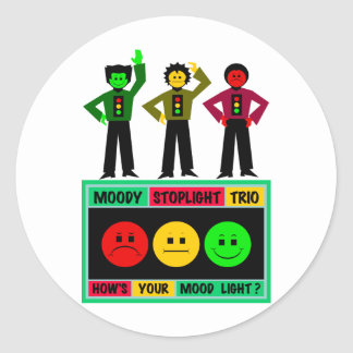 Moody Stoplight Trio Logo with Characters Stickers
