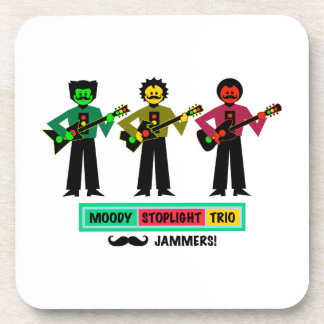 Moody Stoplight Trio Mustachio Guitar Players 1 Beverage Coaster