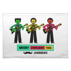 Moody Stoplight Trio Mustachio Guitar Players 1 Cloth Placemat