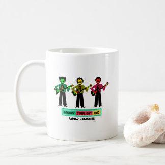 Moody Stoplight Trio Mustachio Guitar Players 1 Coffee Mug