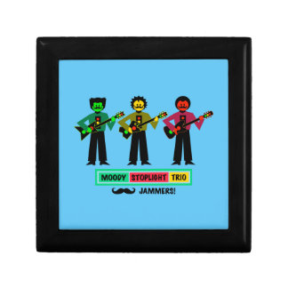 Moody Stoplight Trio Mustachio Guitar Players 1 Jewelry Box