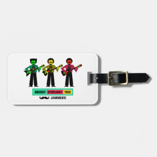 Moody Stoplight Trio Mustachio Guitar Players 1 Luggage Tag