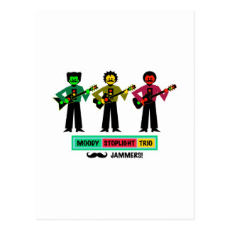 Moody Stoplight Trio Mustachio Guitar Players 1 Postcard
